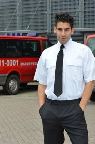 ACTIE 4+1 GRATIS! Heren Pilot shirt - KM Wit